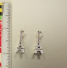 Two Silver plated Eiffel Tower Charms Pendant.