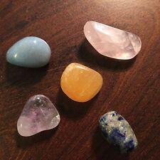 5 Tumbled Crystals Angelite Rose Quartz, Amethyst, Lapis Lazuli, Calcite 401509