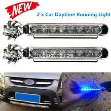 Car Light 8LED DRL Fog Driving Daylight Daytime Running LED Blue Head Lamp 2PCS