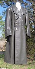 1940s German Military Leather  Overcoat sz 42 L