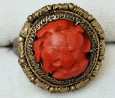 Antique Chinese Silver and Cinnabar Filigree Ring Size 6.5