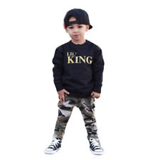 Toddler Kids Baby Boy Letter T-shirt Tops + Camouflage Pants Outfits Clothes Set