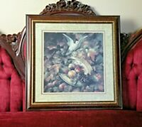 Home Interiors Homco Fruit, Doves and Floral Roses Picture Burgundy Matted Frame