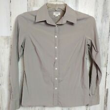 Lands' End Canvas Women's Size 10 Button Up Shirt Casual Tan Long Sleeves