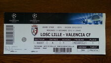 Ticket LOSC LILLE - VALENCIA CF 2012/13 Champions League France Spain España