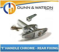 Chrome Plated Rear Fixing 'T' Lock / Handle (Trailer Caravan Canopy Toolbox) x1
