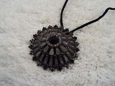 Gunmetal Black Rhinestone Pendant Cord Necklace (A38)