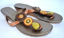 Bandolino Sandals Broadley Womens 6.5 M Bronze Beaded Thong T-Strap Slides Wedge