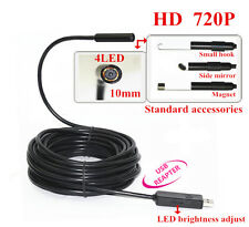 HD 720P USB Video Inspection Endoscope Borescope Tube Camera Waterproof 15M 10mm