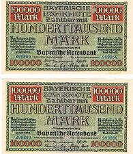 Billete alemán Bayerische Notenbank 100000 S928 1923 AU-NO CIRCULADO notas consecutivos