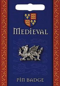 Medieval Heraldic Dragon Silver Pewter Lapel Pin Badge