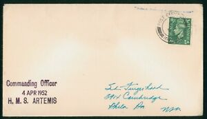 Mayfairstamps Great Britain 1952 HMS Artemis Paquebot Cover wwp81911