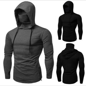 Workout clothes men's sweater hooded long-sleeved T-shirt face mask slim hoodie