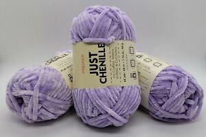 LOT OF 3 Premier Just Chenille Velvet Yarn 1.76 oz / SUPER Bulky /Skein Lavender