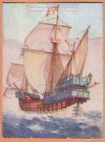 Christopher Columbus 'Santa Maria'  Flagship America 1930s Ad Trade Card
