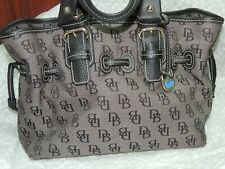 NWOT Dooney & Burke Cotton / Canvas Signature Tote Leather trim Purse Handbag