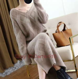 Women's Cashmere Twist Knitted Sweater Slit Skirt 2Pcs Thick Warm Suit Hot sale