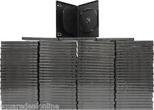 (100) DV3R14BKWT Black Triple 3 DVD 3DVD Disc Cases Boxes SLIM 14mm Hinged Tray