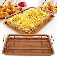 Multi Purpose Copper Air Fryer Non Stick Mesh Pan Crisper Oven Grill Tray Rack !