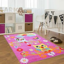 Kinder Teppich Kinderzimmer Moda Eule Blumen Sonne Regenbogen Schmetterling