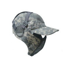 Tactical Foldable Mesh Mask With Airsoft Paintball Baseball Cap ACU
