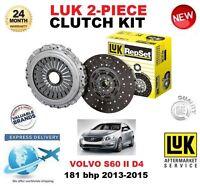 FOR VOLVO S60 II D4 181BHP CLUTCH KIT 2013-2015 LUK 2 PIECE EO QUALITY