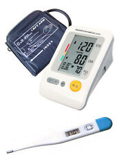 Digital arm blood pressure monitor Large LCD w/120 memory , bonus thermometer
