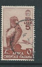 AFRICA ORIENTALE ITALIANA 1938 Air 5 LIRA AQUILA BIRD BIRDS usato Bello!