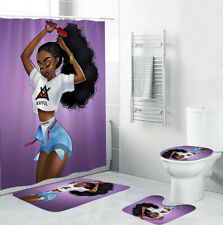 African Girl Bathroom Rug Set Shower Curtain Thick Bath Mat Toilet Lid Cover