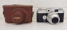 Vintage Argus C-Four 35mm Range Finder Camera w/50mm Lens & Case EXCELLENT LOOK