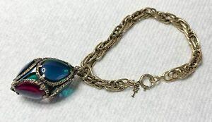 Vintage Crown Trifari Renaissance Gold Chain Bracelet Jewel Tone Bead Pendant