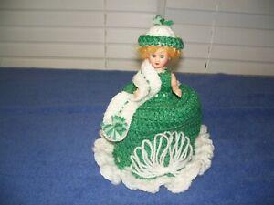 Vintage Handmade Crochet Toilet Paper Tissue Display Holder Doll Green