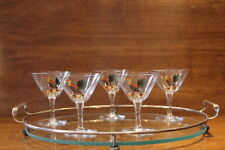VINTAGE 30'S CRYSTAL ROOSTER MARTINI GLASSES W/TRAY