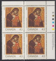 CANADA #1223 43¢ Christmas (Icons) UR Inscription Block MNH