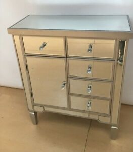 Valetta Large mirrored / wood chest of drawers multi 5 drawer bedroom furniture