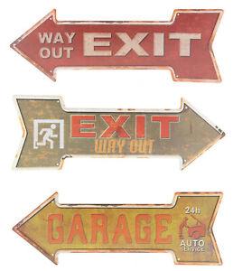 "Blechschild ""Exit Way out"" Garage Auto KFZ Werkstatt Fluchtweg Bar 16x45cm NEU"