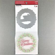 Recollections Christmas Clear Stamp Die Set Merry Christmas Wreath Holiday