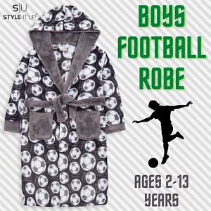 Boys Kids Hooded Dressing Gown Soft Plush Fleece Bathrobe Football Soccer Gift