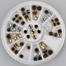 Nail Rhinestones Gems Diamante Fashion Glitter Round Black Silver Framed Jewels