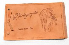 Vintage Leather Mini Photo Album with Embossed Native American in Headdress