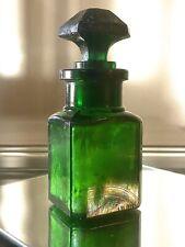 Antique Emerald  Smelling Salts Bottle 1/2 Filled W/ Original Salts And Stopper!