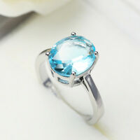 Limpid Jewelry Gift Design Oval Cut Sky Blue Topaz Gemstone Silver Ring Sz 6-10