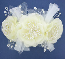 BRIDAL HAIR DECORATION ON CLEAR COMB. IVORY FLOWERS, CRYSTALS, PEARLS. WEDDINGS