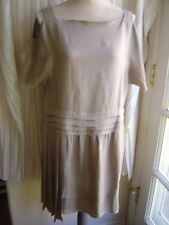 Prada size 44 taupe dress straps & short sleeves asymetrical and layered