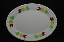 Blue Ridge Pastel Leaf Red Yellow Green Large Oval Platter 13""