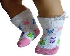 "Bunny Footie Socks Bunnies fits 15"" Bitty Baby + Twins Doll Clothes"