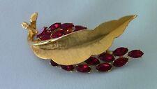 Vintage BSK Gold Tone &Ruby Color Rhinestone Leaf Brooch/Pin