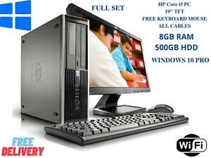 """Dell HP PC Computer Core i5  SET 8GB 500GB HDD WIN 10 PRO 19"""" Screen TFT WiFi"""