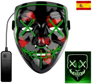 Máscara la Purga luz led careta Discoteca noche disfraz Halloween fiestas Verde