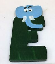 VINTAGE painted wooden alphabet letter with animal - E for elephant